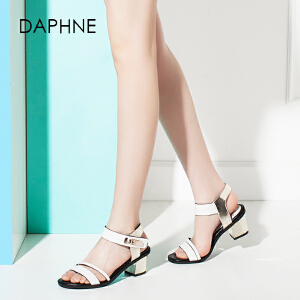 Daphne/达芙妮圆漾夏新款优雅金属扣中粗跟条带凉鞋