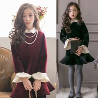 韩国童装秋冬装女童天鹅绒加厚连衣裙韩版小香风荷叶边气质公主裙