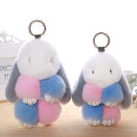 小兔子毛绒玩具兔垂耳兔包包装死挂件兔公仔獭兔皮毛一体