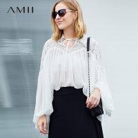 【到手价:156元】Amii极简欧货潮宽松大码雪纺衫女2019春新款纯色POLO超仙蕾丝上衣