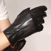 新款时尚大气皮手套男士冬季保暖真皮手套进口羊皮手套户外手套 可礼品卡支付