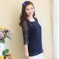女装夏韩版宽松遮肉中袖雪纺衫性感上衣
