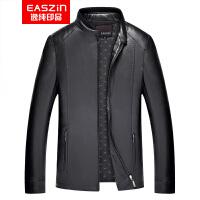 EASZin逸纯印品 男士皮衣 2017秋季中年仿真皮 水洗PU皮立领皮夹克外套
