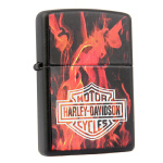 芝宝Zippo打火机 黑哑漆彩印 21040火焰哈雷标志 2006年绝版老款