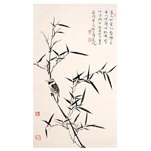 2006霍春阳《竹鸟》(原装旧裱)