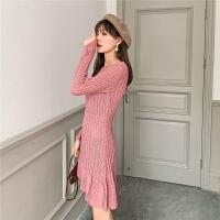七格格连衣裙秋装女2019年新款收腰显瘦气质法式复古长袖针织裙子