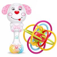婴儿手摇铃玩具3 宝宝早教6新生幼儿8牙胶12个月7男女孩0-1岁 +曼哈顿球