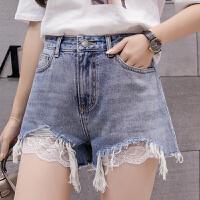 夏季时尚毛边蕾丝短裤女2018新款韩版蕾丝拼接毛边牛仔短裤女学生薄热裤
