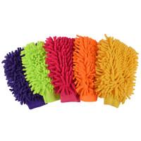 {夏季贱卖}洗车清洁珊瑚绒虫抹布手套熊掌加厚吸水擦车清洁 雪尼尔双面手套(颜色随机) 其他
