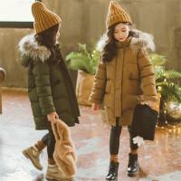 儿童棉衣中长款冬季女童真毛领连帽棉袄男童貉子毛军绿色冬装