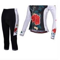 新款自行车骑行服长袖套装女 骑行裤女自行车装备 繁花