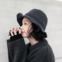 韩版复古羊毛混纺针织渔夫帽女秋冬天保暖毛线帽百搭日系盆帽子潮