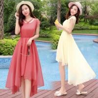 优雅甜美简约短袖纯色显瘦修身沙滩裙长裙夏季大摆连衣裙大码 TZY321豆绿色