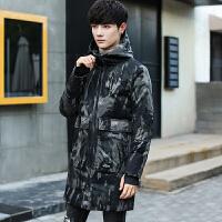 新款韩版中长款棉衣男士修身冬季外套潮流修身帅气迷彩男 迷彩绿色