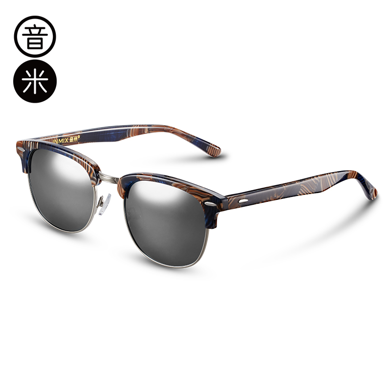 音米新款时尚偏光太阳镜女潮个性半框墨镜男士开车眼镜驾驶镜 AASBBB106