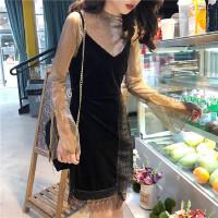 港味中长款金丝绒蕾丝吊带+百搭显瘦纯色连衣裙两件套