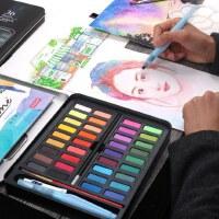 乔尔乔内固体水彩颜料36色铁盒装水彩画笔画本自来水笔套装学生手绘水彩粉饼颜料水粉初学者儿童绘画可水洗