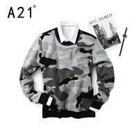 以纯A21男士毛衣加厚冬长袖青年圆领毛衣男 学生套头潮流迷彩针织衫