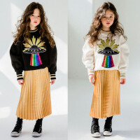 亲子装冬韩国童装冬装女童卫衣加绒保暖中大童卡通休闲上衣潮