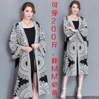 女装中国风刺绣宽松大码外套 200斤胖mm加长款披肩开衫加肥防晒衣