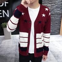 韩观冬季新款男士针织衫开衫毛衣男长袖长袖毛线衣纯色线衫外套韩版潮 酒红