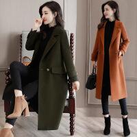 2017新款时尚韩版女装毛呢外套 显瘦修身中长款长袖呢子大衣