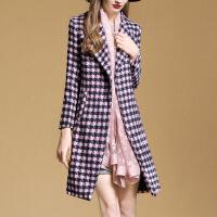 冬季新款 欧美大码女装 中长款西装领长袖毛呢外套女 粉色