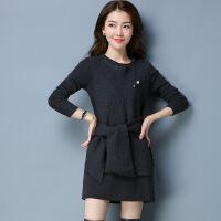 秋冬新款韩版裙套装系带中长款套头连衣裙外搭无袖中长款毛衣 均码