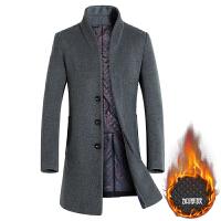 毛呢大衣男中长款青年羊毛呢子外套立领英伦冬季加厚商务修身风衣 灰色 M