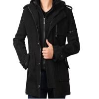新款男士风衣外套中长款大衣韩版休闲假两件修身加厚加肥加大码