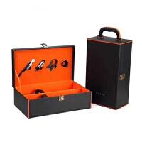 新款施华洛镶钻红酒礼盒单支两支六只葡萄酒皮盒水钻红酒箱子 橙色 双只点钻 含酒具