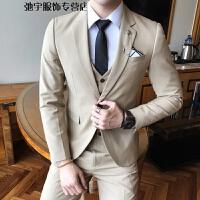 新郎结婚西服套装男士韩版修身三件套小西装男套装伴郎团礼服秋季 卡其色 S