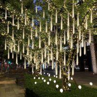 LED流星雨灯彩灯闪灯新年过年元宵装饰灯假双面防水挂树灯流星管