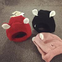 宝宝帽子1-8岁秋冬天儿童毛线帽加绒保暖护耳帽针织帽男女婴儿帽