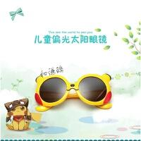 新款儿童太阳镜卡通硅胶小孩墨镜男女童宝宝潮偏光眼镜1-9岁 黄框黄腿 送眼镜盒