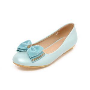 O'SHELL法国欧希尔新品152-A10韩版超纤皮平跟蝴蝶结舒适女士单鞋