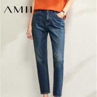 【到手价:154元】Amii极简休闲直筒宽松牛仔裤女2020春季新款潮ins显高显瘦九分裤