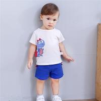 男女宝宝夏装短袖套装夏季婴儿卡通恐龙纯棉T恤两件套