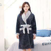 韩版情侣男女秋冬季珊瑚绒加厚法兰绒长袖家居服睡衣睡袍套装