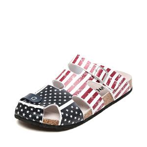 达芙妮旗下SHOEBOX/鞋柜夏季新款防滑软木底凉拖鞋包头沙滩男鞋