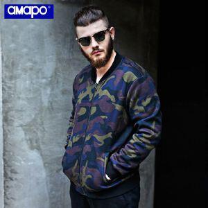 【限时抢购到手价:150元】AMAPO潮牌大码男装 胖子加肥加大号迷彩夹克jacket加绒保暖外套男