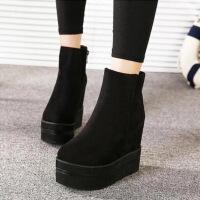 秋冬新款马丁靴平底圆头女靴超高跟坡跟厚底短靴内增高女鞋 黑色 网纱888-2A