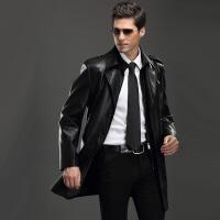 冬春季皮衣中长款男士韩版加大码男式皮风衣长潮外套