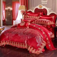 家纺结婚床上四件套被套纯棉欧美式大红刺绣床单式新婚双人床品