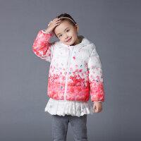 歌瑞家婴儿衣服冬装新款女小童印花连帽羽绒服短款羽绒服乐友