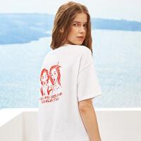 A21夏装新品女装短袖T恤 休闲漫画印花女生圆领宽松五分袖短袖衫