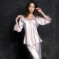 性感睡衣女夏冰丝两件套 薄款套装中袖蕾丝绸睡裙可外穿家居服