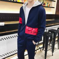 2017冬款男士卫衣卫裤套装连帽韩版两件套青少年加绒加厚休闲保暖套装