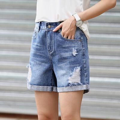 Freefeel2018夏季新款牛仔短裤韩版时尚卷边破洞A字裤xzz-811