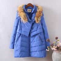 W1东大门新款羽绒服女中长款 韩版加厚大毛领大码宽松冬装0.8